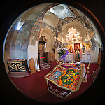 Icon of the Holy Cross, Church of the Ascension of Jesus Christ at the Monastery Mileševa, Serbia originally built in the 13th century. Fisheye lens view