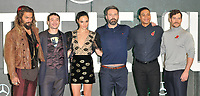 Jason Momoa, Ezra Miller, Gal Gadot, Ben Affleck, Ray Fisher and Henry Cavill at the &quot;Justice League&quot; press photocall, The College, Southampton Row, London, England, UK, on Saturday 04 November 2017.<br /> CAP/CAN<br /> &copy;CAN/Capital Pictures