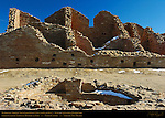 South Room Block Walls and Plaza Kiva, Pueblo del Arroyo Chacoan Great House, Anasazi Hisatsinom Ancestral Pueblo Site, Chaco Culture National Historical Park, Chaco Canyon, Nageezi, New Mexico