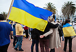 People listened to speakers at the Ukranian rally in Justin Herman Plaza, in San Francisco, California on Sunday, March 9th, 2014.  Photo/Victoria Sheridan