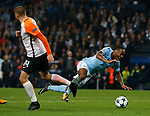 Raheem Sterling of Manchester City goes down when challenged by Yaroslav Rakytskyy of Shaktar Donetsk during the Champions League Group F match at the Emirates Stadium, Manchester. Picture date: September 26th 2017. Picture credit should read: Andrew Yates/Sportimage