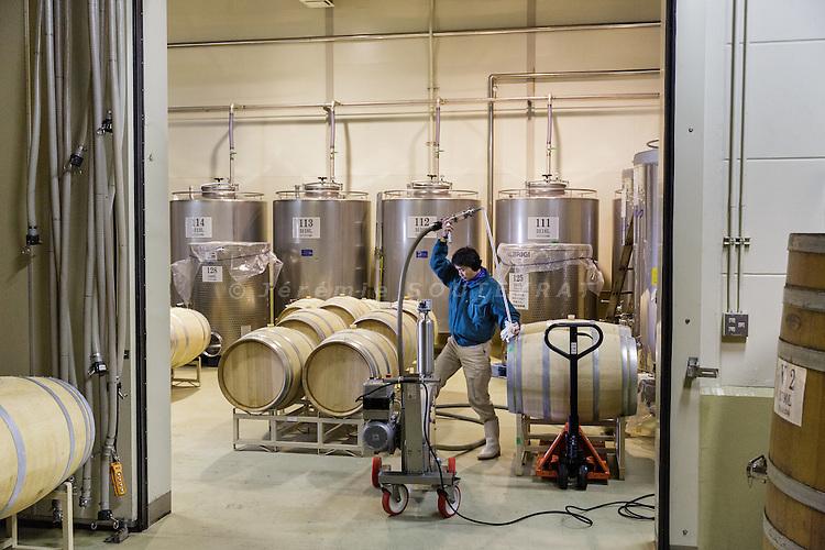Hokuto, Yamanashi prefecture, Japan, February 8 2016 - Wooden barrels (fro red wine) and inox barrels (for Koshu wine) at Akeno Misawa Vineyard (Misawa Winery). The Cuvee Misawa Akeno Koshu 2013, produced wholly from the koshu grapes, won a regional trophy at the Decanter World Wine Awards in 2014.