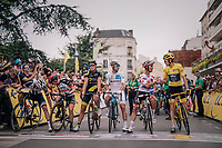 yellow jersey / GC leader Geraint Thomas (GBR/SKY) & Polka Dot Jersey / KOM leader Julian Alaphilippe (FRA/Quick-Step Floors) congratulating eachother on the start line of the last stage<br /> <br /> Stage 21: Houilles > Paris / Champs-Élysées (115km)<br /> <br /> 105th Tour de France 2018<br /> ©kramon