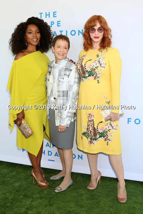 LOS ANGELES - OCT 6:  Angela Bassett, Gail Abarbanel, Christina Hendricks at  The Rape Foundation's Annual Brunch at the Private Estate on October 6, 2019 in Beverly Hills, CA