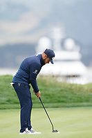 Tyrrell Hatton (ENG) on the 17th green during the final round of the US Open Championship, Pebble Beach Golf Links, Monterrey, Calafornia, USA. 16/06/2019.<br /> Picture Fran Caffrey / Golffile.ie<br /> <br /> All photo usage must carry mandatory copyright credit (© Golffile | Fran Caffrey)