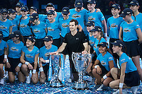 Andy Murray (GBR) poses with the Barclays Ball kids and the ATP World Number One and World Tour Finals Trophies after his win in the final against Novak Djokovic (SRB), ATP World Tour Finals 2016, Day Eight, O2 Arena, Peninsula Square, London, United Kingdom, 20th Nov 2016