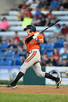 Aberdeen IronBirds second baseman Stephen Wilkerson (14) hits a double during a game against the Williamsport Crosscutters on August 4, 2014 at Bowman Field in Williamsport, Pennsylvania.  Aberdeen defeated Williamsport 6-3.  (Mike Janes/Four Seam Images)