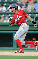 Infielder Geancarlo Menzez (17) of the Lakewood BlueClaws, Class A affiliate of the Philadelphia Phillies, in a game against the Greenville Drive on July 13, 2011, at Fluor Field at the West End in Greenville, South Carolina. (Tom Priddy/Four Seam Images)