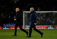 7th March 2020; Turf Moor, Burnley, Lanchashire, England; English Premier League Football, Burnley versus Tottenham Hotspur; Burnley manager Sean Dyche and Tottenham Hotspur manager Jose Mourinho walk away at half time with Burnley 1-0 ahead