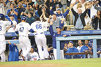 06/06/13 Los Angeles, CA: Los Angeles Dodgers  Yasiel Puig #66after he hit a grand slam in the 8th inning during an MLB game played between the Los Angeles Dodgers and the Atlanta Braves at Dodger Stadium. The Dodgers defeated the Braves 5-0.