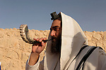 Israel, Masada, the inauguration of the Synagogue, a man with Tefilin and a Shofar, 2005<br />