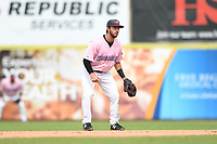 Hickory Crawdads Shortstop Tyler Depreta-Johnson (2) on defense during the game with the Charleston Riverdogs at L.P. Frans Stadium on May 12, 2019 in Hickory, North Carolina.  The Riverdogs defeated the Crawdads 13-5. (Tracy Proffitt/Four Seam Images)