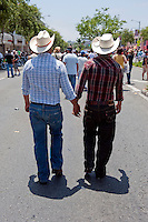 Los Angeles Pride Cowboys, Men, Holding Hands, Cowboy Hats, LA Pride 2010 West Hollywood, CA Parade