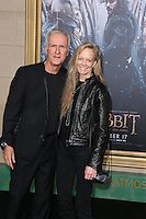 HOLLYWOOD, LOS ANGELES, CA, USA - DECEMBER 09: James Cameron, Suzy Amis  arrive at the World Premiere Of New Line Cinema, MGM Pictures And Warner Bros. Pictures' 'The Hobbit: The Battle of the Five Armies' held at the Dolby Theatre on December 9, 2014 in Hollywood, Los Angeles, California, United States. (Photo by Xavier Collin/Celebrity Monitor)