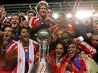 Chicago Fire players celebrate after receiving the Dewar Cup.  The Chicago Fire defeated the LA Galaxy 3-1 in the championship of the U.S. Open Cup at Toyota Park in Bridgeview, IL on September 27, 2006.