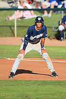 Angel Ortega (10) of the Helena Brewers takes a lead from first base in action against the Ogden Raptors at Lindquist Field in Ogden Utah on July 20, 2013.  (Stephen Smith/Four Seam Images)