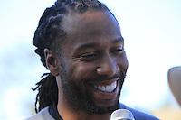 Arizona Cardinals wide receiver Larry Fitzgerald on the 1st tee at Pebble Beach Golf Links during Saturday's Round 3 of the 2017 AT&amp;T Pebble Beach Pro-Am held over 3 courses, Pebble Beach, Spyglass Hill and Monterey Penninsula Country Club, Monterey, California, USA. 11th February 2017.<br /> Picture: Eoin Clarke | Golffile<br /> <br /> <br /> All photos usage must carry mandatory copyright credit (&copy; Golffile | Eoin Clarke)