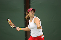 23 May 2006: Celia Durkin during Stanford's 4-1 win over the Miami Hurricanes in the 2006 NCAA Division 1 Women's Tennis Team Championships at the Taube Family Tennis Stadium in Stanford, CA.