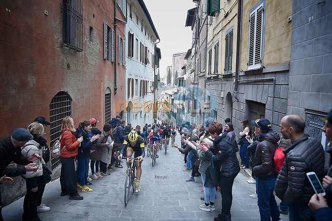 Some of the 5,000 participants of the Gran Fondo Strade Bianche 2019 climb Via Santa Caterina in Siena running 133km from Siena to Siena, held over the white gravel roads of Tuscany, Italy. 10th March 2019.<br /> Picture: LaPresse/Fabio Ferrari | Cyclefile<br /> <br /> <br /> All photos usage must carry mandatory copyright credit (© Cyclefile | LaPresse/Fabio Ferrari)