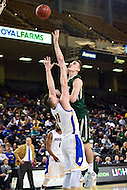 Baltimore, MD - William & Mary Tribe guard David Cohn (34) has his shot contested by Hofstra Pride forward Rokas Gustys (11) during the CAA Basketball Tournament at the Royal Farms Arena in Baltimore, Maryland on March 6, 2016.  (Photo by Philip Peters/Media Images International)