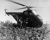 U. S. Marines of the First Marine Div. Reconnaissance Co. make the first helicopter invasion on Hill 812, to relieve the ROK Eighth Div., during the renewed fighting in Korea.  September 20, 1951. T. G. Donegan. (Navy)<br /> NARA FILE #:  080-G-433340<br /> WAR &amp; CONFLICT BOOK #:  1430