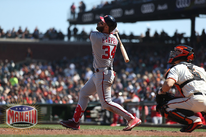 SAN FRANCISCO, CA - APRIL 25:  Bryce Harper #34 of the Washington Nationals bats against the San Francisco Giants during the game at AT&T Park on Wednesday, April 25, 2018 in San Francisco, California. (Photo by Brad Mangin)