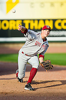 Austin Blaski (25) of the Wisconsin Timber Rattlers warms up in the bullpen prior to the game against the Great Lakes Loons at the Dow Diamond on May 4, 2013 in Midland, Michigan.  The Timber Rattlers defeated the Loons 6-4.  (Brian Westerholt/Four Seam Images)