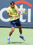 Washington, DC - August 9, 2015: Ivan Dodig backhand shot during the Citi Open men's doubles final at Rock Creek Park Tennis Center in Washington, DC  August 9, 2015.  (Photo by Elliott Brown/Media Images International)