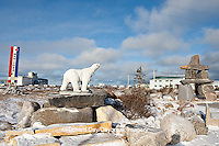 60595-01013 Polar bear statue and Inukshuk near Port of Churchill, Churchill MB Canada
