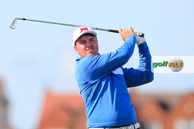 Thomas Sloman (GB&I) on the 2nd tee during Day 1 Singles of the Walker Cup at Royal Liverpool Golf CLub, Hoylake, Cheshire, England. 07/09/2019.<br /> Picture: Thos Caffrey / Golffile.ie<br /> <br /> All photo usage must carry mandatory copyright credit (© Golffile   Thos Caffrey)