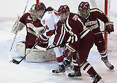 Corinne Boyles (BC - 29), Jillian Dempsey (Harvard - 14), Alex Carpenter (BC - 5), Kaliya Johnson (BC - 6) - The Boston College Eagles defeated the Harvard University Crimson 2-1 in the 2013 Beanpot opening round on Tuesday, February 5, 2013, at Matthews Arena in Boston, Massachusetts.