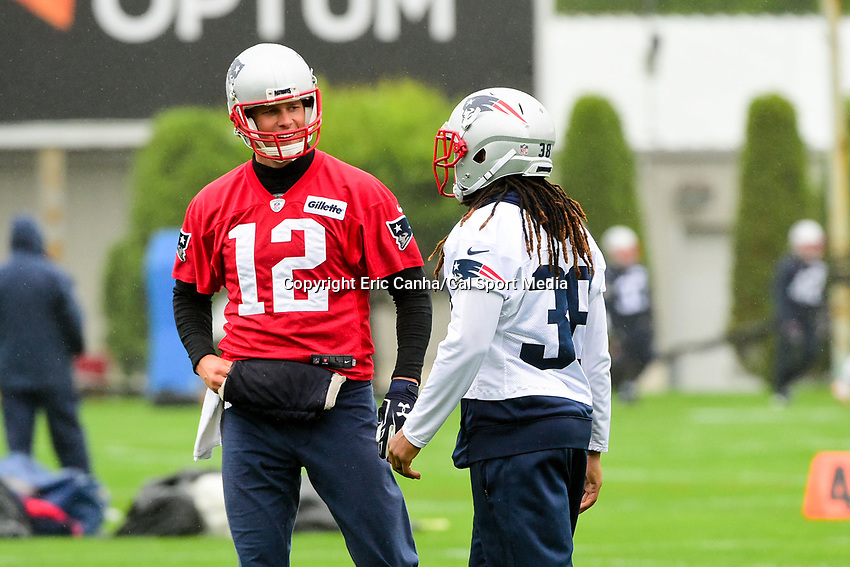 June 6, 2017: New England Patriots quarterback Tom Brady (12) talks to running back Brandon Bolden (38) at the New England Patriots mini camp held on the practice field at Gillette Stadium, in Foxborough, Massachusetts. Eric Canha/CSM