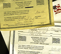JOHN ROBBINS became suspicious when he received a phone call from someone claiming to represent a Veterans Job Co-op organization, asking him to leave money to help veterans under the door mat of his Orinda home. He asked for a mailed solicitation, and received a stamped, hand-addressed envelope with a Walnut Creek return address. An official looking receipt emblazoned with American flags said the co-op was not a charity.