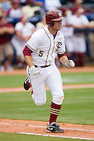 Jack Posey #5 of the Florida State Seminoles hustles down the first base line versus the Virginia Cavaliers at Durham Bulls Athletic Park May 24, 2009 in Durham, North Carolina. The Virginia Cavaliers defeated the Florida State Seminoles 6-3 to win the 2009 ACC Baseball Championship.  (Photo by Brian Westerholt / Four Seam Images)