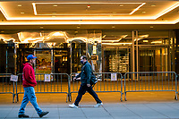 NEW YORK, NY - MAY 21:  People walk in front of the International Hotel Hilton that remains closed during the outbreak of the COVID-19 pandemic on May 21, 2020 in New York City. United States have shuttered businesses like hotels, restaurants and retailers, pushing the economy into a deep recession, shedding more 20 million jobs and eliminating a decade's worth of growth, bringing the monthly unemployment rate. (Photo by Eduardo MunozAlvarez/VIEWpress)