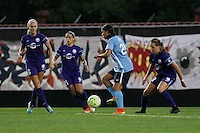Piscataway, NJ - Wednesday Sept. 07, 2016: Kaylyn Kyle, Monica, Maddy Evans, Samantha Kerr during a regular season National Women's Soccer League (NWSL) match between Sky Blue FC and the Orlando Pride FC at Yurcak Field.