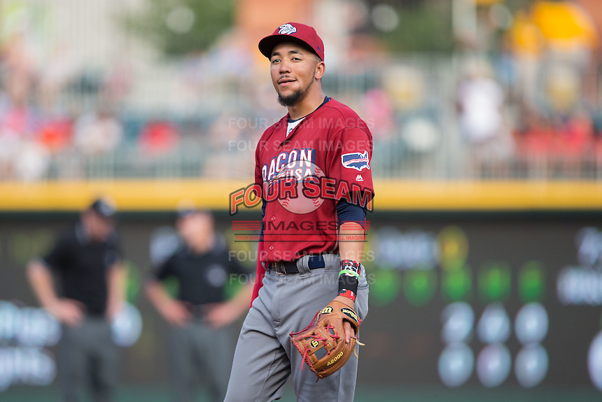 Lehigh Valley Iron Pigs shortstop J.P. Crawford (3) on defense against the Charlotte Knights at BB&T BallPark on June 3, 2016 in Charlotte, North Carolina.  The Iron Pigs defeated the Knights 6-4.  (Brian Westerholt/Four Seam Images)