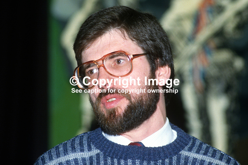 Gerry Adams, president, Provisional Sinn Fein, on the platform during his party's 1985 Ard Fheis in Dublin, Rep of Ireland. 19851101GA2 ..Copyright Image from Victor Patterson, 54 Dorchester Park, Belfast, UK, BT9 6RJ..Tel: +44 28 9066 1296.Mob: +44 7802 353836.Voicemail +44 20 8816 7153.Skype: victorpattersonbelfast.Email: victorpatterson@me.com.Email: victorpatterson@ireland.com (back-up)..IMPORTANT: If you wish to use this image or any other of my images please go to www.victorpatterson.com and click on the Terms & Conditions. Then contact me by email or phone with the reference number(s) of the image(s) concerned.