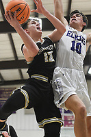 Charleston guard Brandon Scott (12) shoots as Elkins Paxton Barnett (10) blocks, Friday, February 14, 2020 during a basketball game at Elkins High School in Elkins. Check out nwaonline.com/prepbball/ for today's photo gallery.<br /> (NWA Democrat-Gazette/Charlie Kaijo)