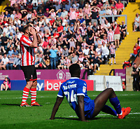Lincoln City's Matt Rhead reacts after his shot was deflected out for a corner<br /> <br /> Photographer Chris Vaughan/CameraSport<br /> <br /> The EFL Sky Bet League Two - Lincoln City v Tranmere Rovers - Monday 22nd April 2019 - Sincil Bank - Lincoln<br /> <br /> World Copyright © 2019 CameraSport. All rights reserved. 43 Linden Ave. Countesthorpe. Leicester. England. LE8 5PG - Tel: +44 (0) 116 277 4147 - admin@camerasport.com - www.camerasport.com
