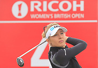 Nelly Korda (USA) on the 4th tee during Round 3 of the Ricoh Women's British Open at Royal Lytham &amp; St. Annes on Saturday 4th August 2018.<br /> Picture:  Thos Caffrey / Golffile<br /> <br /> All photo usage must carry mandatory copyright credit (&copy; Golffile | Thos Caffrey)