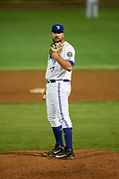 Bluefield Blue Jays relief pitcher Brennan Price (52) looks in for the sign during the second game of a doubleheader against the Bristol Pirates on July 25, 2018 at Bowen Field in Bluefield, Virginia.  Bristol defeated Bluefield 5-2.  (Mike Janes/Four Seam Images)
