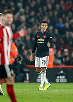 24th November 2019; Bramall Lane, Sheffield, Yorkshire, England; English Premier League Football, Sheffield United versus Manchester United; Mason Greenwood of Manchester United gives a thumbs up after he scores in the 77th minute to make it 2-2 - Strictly Editorial Use Only. No use with unauthorized audio, video, data, fixture lists, club/league logos or 'live' services. Online in-match use limited to 120 images, no video emulation. No use in betting, games or single club/league/player publications