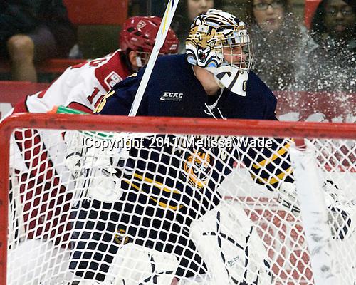 Eric Hartzell (Quinnipiac - 33) - The Harvard University Crimson and Quinnipiac University Bobcats played to a 2-2 tie on Saturday, November 5, 2011, at Bright Hockey Center in Cambridge, Massachusetts.
