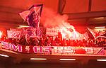 Solna 2015-10-04 Fotboll Allsvenskan AIK - Malm&ouml; FF :  <br /> Malm&ouml;s supportrar med flaggor och bengaler under matchen mellan AIK och Malm&ouml; FF <br /> (Foto: Kenta J&ouml;nsson) Nyckelord:  AIK Gnaget Friends Arena Allsvenskan Malm&ouml; MFF supporter fans publik supporters