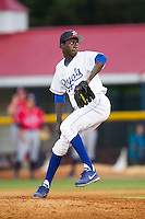 Burlington Royals relief pitcher Yunior Marte (41) in action against the Danville Braves at Burlington Athletic Park on July 5, 2014 in Burlington, North Carolina.  The Royals defeated the Braves 5-4.  (Brian Westerholt/Four Seam Images)