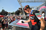 Rohan Dennis (AUS) BMC Racing Team at sign on before the start of Stage 18 of the 2018 Giro d'Italia, running 196km from Abbiategrasso to Prato Nevoso, Italy. 24th May 2018.<br />