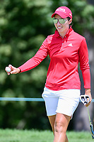 Carlota Ciganda (ESP) after sinking her birdie putt on 1 during Sunday's final round of the 72nd U.S. Women's Open Championship, at Trump National Golf Club, Bedminster, New Jersey. 7/16/2017.<br /> Picture: Golffile | Ken Murray<br /> <br /> <br /> All photo usage must carry mandatory copyright credit (&copy; Golffile | Ken Murray)