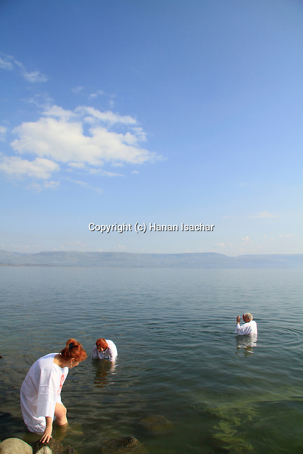 Israel, Capernaum, baptism at the Sea of Galilee