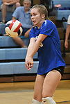 Marquette's Nova Silliman bumps a Jerseyville serve. Jerseyville played at Alton Marquette in a girls volleyball game on Wednesday September 11, 2018.<br /> Tim Vizer/Special to STLhighschoolsports.com